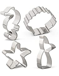 Sea Creature Mermaid Cookie Cutter Set - 4 PCS - Mermaid Tail/Whale Tail, Seahorse, Starfish and Seashell - Stainless Steel