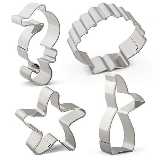 Sea Creature Mermaid Cookie Cutter Set - 4 PCS - Mermaid Tail/Whale Tail, Seahorse, Starfish and Seashell - Stainless Steel (Cutter Starfish Cookie)