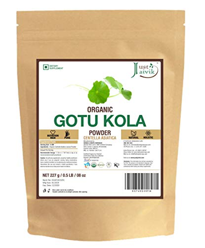 Just Jaivik 100% Organic Gotu Kola Powder, 1/2 Pound - 227g - USDA Organic - Centella Asiatica - Ayurvedic Herb for The Brain & Nervous System Also Known as Mandupakarni Powder and Brahmi Powder) ()