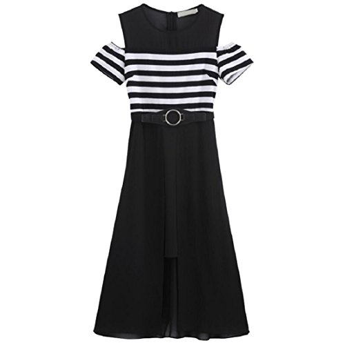 Slim striped short-sleeved dress - 5