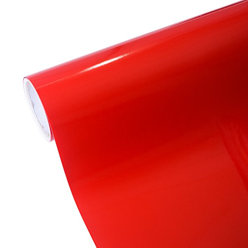 Red Self Adhesive - TECKWRAP 12''x10ft Glossy Red Permanent Adhesive-Backed Vinyl for Craft Cutters, Punches and Vinyl Sign Cutters