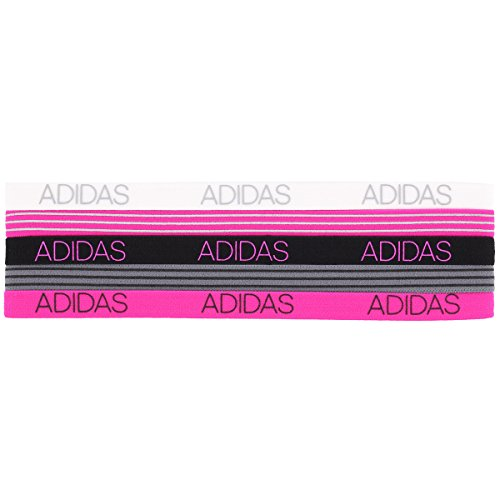 adidas Womens 5pk Creator Hairband, Grey/White/Black/Shock Pink, One Size (Adidas Headband Athletic)