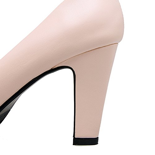 Odomolor Women's PU High-Heels Round-Toe Solid Pull-On Pumps-Shoes, Pink, 34