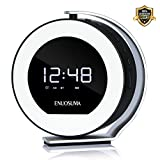 LED Light Alarm Clock Radio with Bluetooth Speaker, Premium Desk Clock for Bedroom Rechargeable Night Light Clock with 2000mAh Battery Charging USB