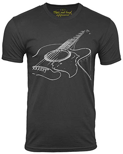 Think Out Loud Apparel Acoustic Guitar Player T Shirt Cool Musician Tee Music T Shirt Artistic Tshirt Black XL
