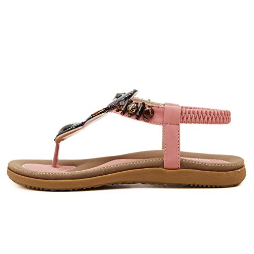 Amoonyfashion Womens Pu Élastique Split Toe Bas-talons Flip-flop-sandales Avec Verre Diamant Rose