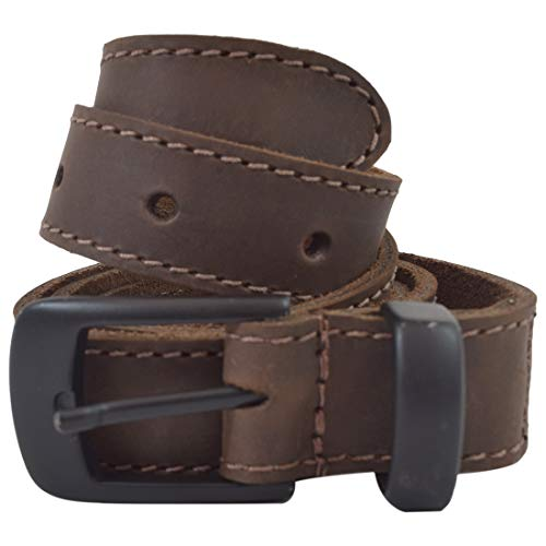 - Hide & Drink, Two Row Stitch Leather Belt/Rustic Charcoal Buckle, 1