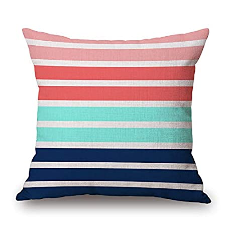 Throw Pillow Cover 18x18 Geometric Rectangles Piles Together Accent Blue Pink Red Spring Summer Home Decor Invisible Zipper Durable Decorative Cushion Cover Pillow Case Sofa Couch Bedroom Living Room