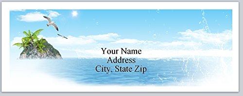 150 Personalized Address Labels Scenic Beach Seagulls (P 257) ()