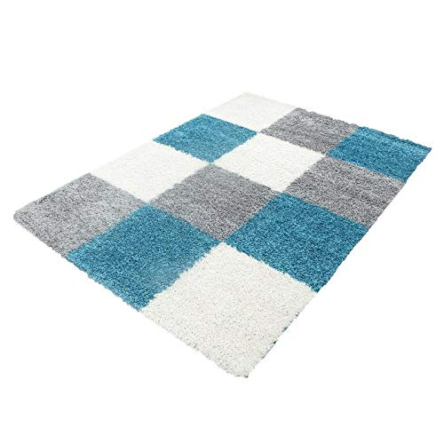 Global Home Shaggy Carpets for Dining Rooms, Guest Rooms,Bed Room Small Medium Large Such as Black, Brown, Cream, Green, red, Purple, Size- 2 ft x 3 ft, Color: Turquoise