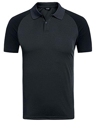 (クーファンディ) Coofandy ポロシャツ 半袖 メンズ ゴルフウェア カジュアル おしゃれ スポーツ ボタンダウン 配色 ラグランスリーブ 大きいサイズ 4色 S~XXL