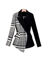 Jeremy Stone Tweed Blazers for Women Velour Patchwork Wool Plaid Blazer Coat Female Asymmetrical Women's Suits Formal Jackets