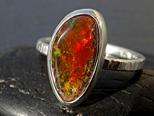 unique fire opal ring silver matrix opal ring, opal engagement ring, raw opal ring, Mexican fire opal ring, opal anniversary gift for her