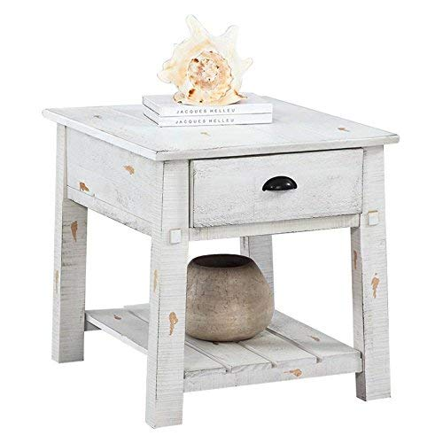 Progressive Furniture Willow Rectangular End Table, White (Willow Furniture)