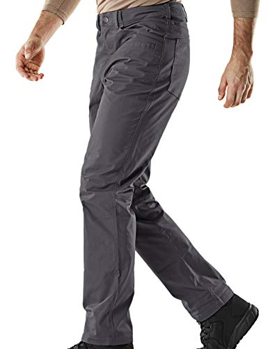 CQR Men's Flex Stretch Tactical Work Outdoor Operator Rip-Stop Trouser Pants EDC, Flexy Straight(tfp500) - Charcoal, 42W/30L