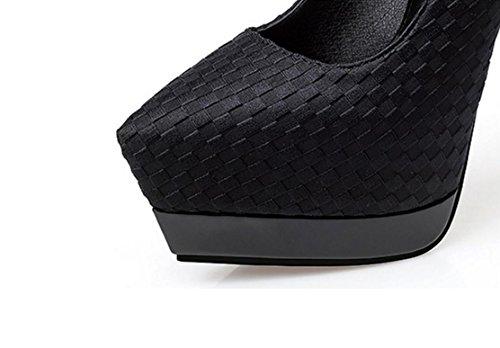 Fine cintura alto femminile piattaforma nuovo puntato locale scarpe europee discoteca Black singolo fibbia la stazioni impermeabile tacchi Un moda diamante con ZCH ultra femminile wzqFOaI