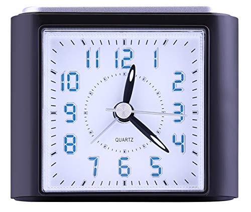 Fzy.bstim Non-Ticking Analog Alarm Clock with LED Lighted Numbers,Snooze,Ascending Sound Alarm,Simple to Set Bedroom Clocks,Battery Operated, Black