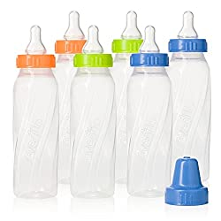 Evenflo Feeding Classic Twist Clear Bottles, Green/Blue/Orange, 8 Ounce (Pack of 12)