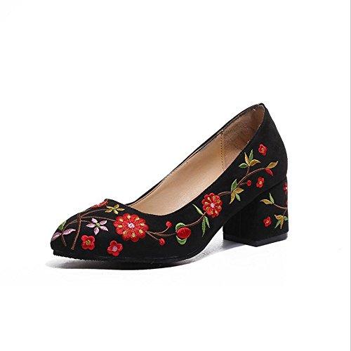 Zapatos de mujer de primavera y verano zapatos bordados de primavera zapatos bordados zapatos para caminar boca superficial con zapatos de trabajo profesional de tacón alto GAOLIXIA Black