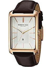 Men's 'Classic' Quartz Stainless Steel and Leather Dress Watch, Color:Brown (Model: 10030831)