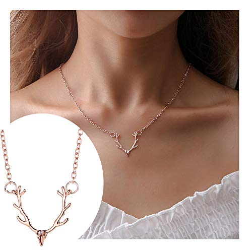 - choice of all Vintage Deer Necklace Elk Head Pendant Necklace Cute Animal Pendant Necklace for Women (C:roes Gold)