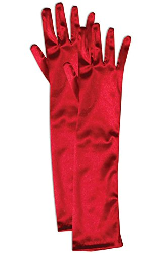 Red Cropped Satin Gloves (Fancy Satin Opera Child Gloves (Red))