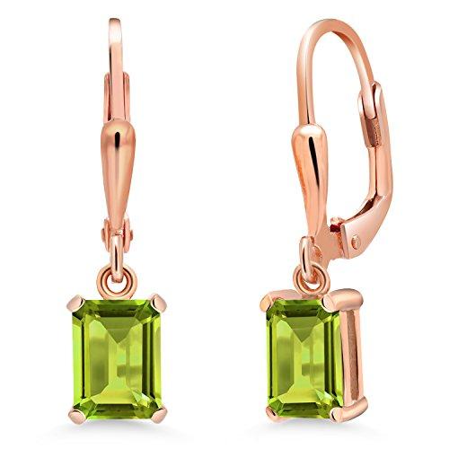 1.96 Ct Emerald Cut Green Peridot 18K Rose Gold Plated Silver ()