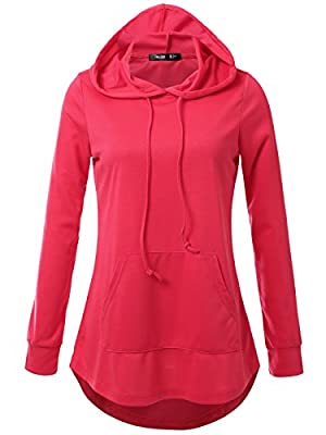 JayJay Women Lace Up High Low Sweat Casual Long Sleeve Hoodie Lightweight Sweatshirt