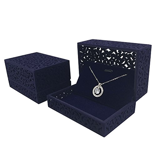 - DesignSter Hollow Royal Blue Velvet Jewelry Long Necklace Box - Chain Pendant Display Organizer Gift Box