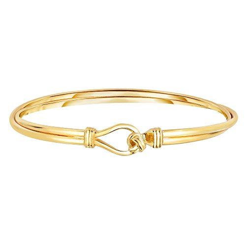 14k High Polished Yellow Gold Shiny Twisted 2 Row Oval Fancy Bangle With Loveknot Clasp - 7.5