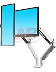 North Bayou Dual Monitor Desk Mount Stand Full Motion Swivel Computer Monitor Arm for Two Screens up to 32'' with Gas Spring - White