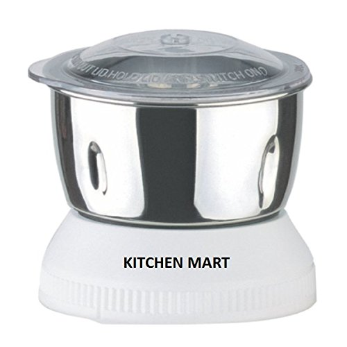 Kitchen Mart Stainless Steel chutney Jar Mixer Grinder without Locking System (White,400 ml) Mixer Grinders at amazon