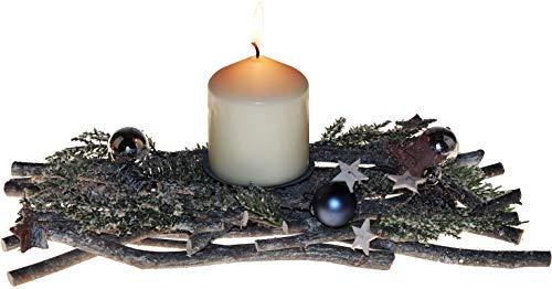 UK Candle Co. Centro de Mesa de Navidad para Nieve, 32 cm, con Velas de Pilar, Color Blanco