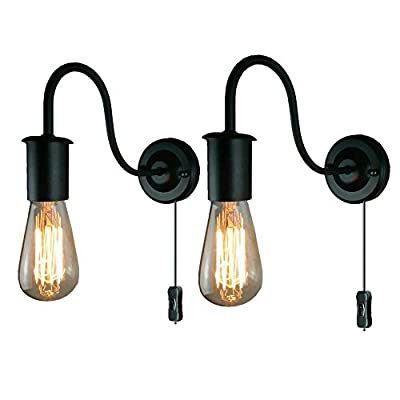 ALLTRUST Industrial Wall Sconces Wall Lamp Gooseneck Sconces Wall Lighting E26 Base Vintage Edison Retro Wall Mount Light Plug-in Button ON/Off Switch Cord Lighting Set of 2 Packs