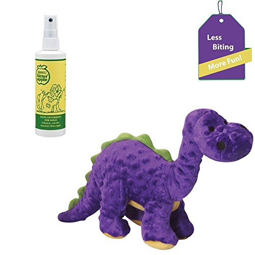 (Bitter Apple Spray for Dogs + Tough Dog Chew Toy (purple dino) - Dog Licking & Destructive Chewing Prevention Bundle)