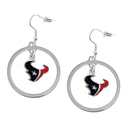 Sports Team Logo Houston Texans Charm Hoop Earring Set