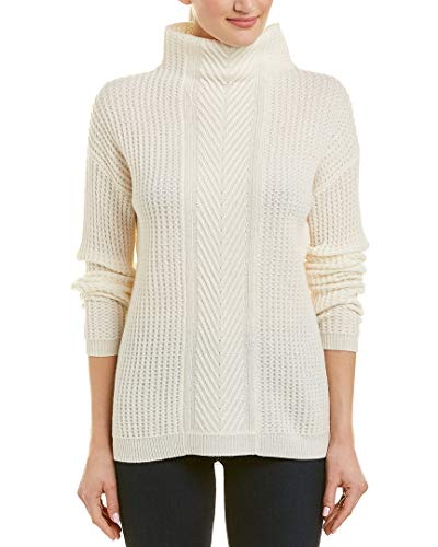 Sofia Cashmere Women's Cashmere Cable Mockneck Sweater, Ivory Medium