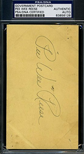 PEE WEE REESE 1947 GPC GOVERNMENT POSTCARD PSA/DNA SIGNED AUTHENTIC AUTOGRAPH