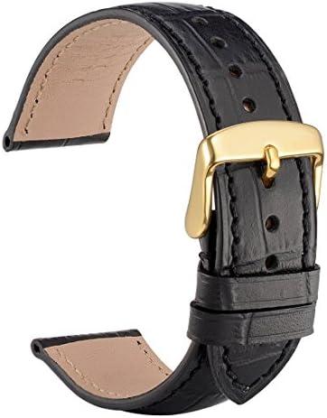 [WOCCI]時計バンド 20mm イタリアンレザー クロコ型押し時計替えベルト シルバーバックル (ブラウン/コントラストステッチ)