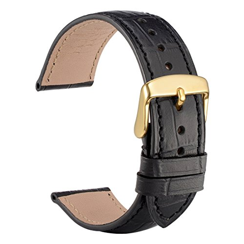 WOCCI 22mm Alligator Embossed Leather Watch Band,Black Replacement Strap with Gold Buckle