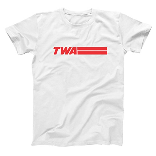 Funny Threads Outlet Retro TWA Airlines Old School Hip Cool Mens Shirt X-Large White
