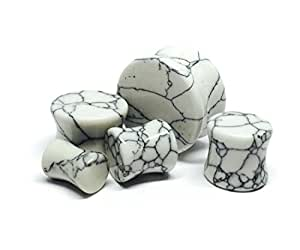 Howlite Stone Plugs - 00g - 10mm - Sold As a Pair