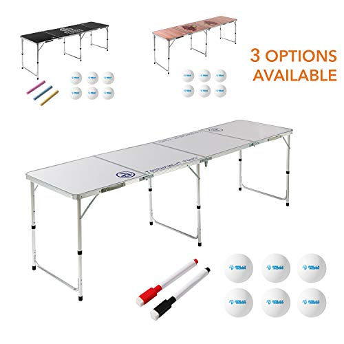 8 Foot Beer Pong Table DRY ERASE by Rally and Roar - Portable Party Drinking Games - Official 8ft x 2ft x 27.5in Regulation Size - Tournament Ready - Premium Indoor-Outdoor Beirut Table, Lightweight