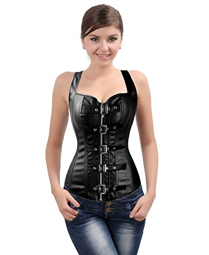 Cup Leather Corset (Women's Fashion Corset Top Overbust Punk Bustier Buckle-Up Faux leather Zipper Waist Trainer Corset)