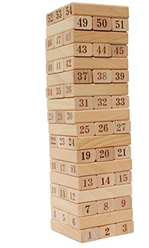 Toys of Wood Oxford Wooden Stacking Blocks with numbers - wooden stacking game - family games for kids and adults