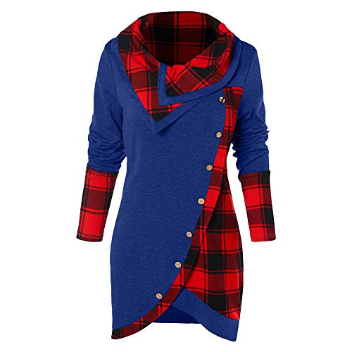 (Women's Tunic T Shirts Plaid Long Sleeves Asymmetrical Tartan Panel Cowl Neck Tulip Front Casual Cobalt Blue)