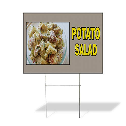 Plastic Weatherproof Yard Sign Potato Salad Food Fair Restaurant Cafe Market Potato Salad Restaurants Red Potato Salad for Sale Sign Multiple Quantities Available 18inx12in One Side Print One Sign ()