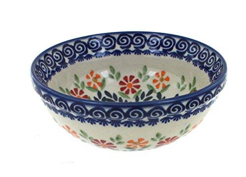 - Blue Rose Polish Pottery Garden Bouquet Dessert Bowl