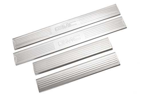 Gmc Yukon Door Sill Plate - GM Accessories 17802524 Front and Rear Door Sill Plates in Brushed Stainless Steel with GMC Logo
