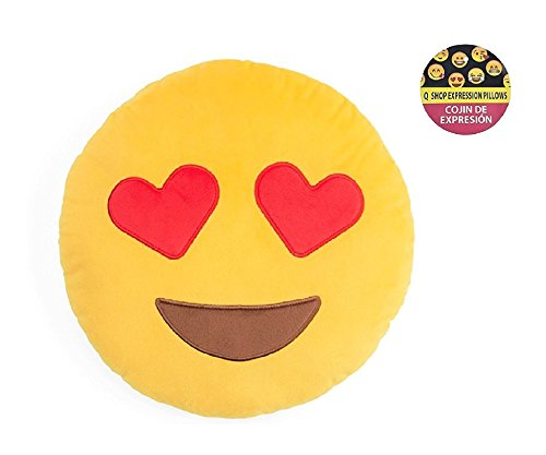 Q's 32cm/13IN Emoji Smiley Emoticon Yellow Round Cushion Pillow Stuffed Plush Soft Toy USA Best Quality